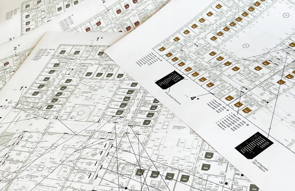 Plantegning til udarbejdelsen af wayfinding til Comwell Copenhagen - Nonbye A/S